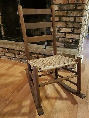 Beautiful Antique Vintage Small Wooden Cane Seated Rocker Chair