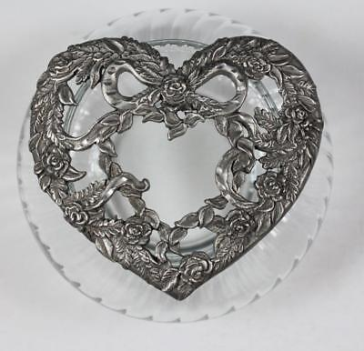 Rawcliffe Pewter Heart & Flowers Sculpted Potpourri Lid with Jar PC2990 EUC