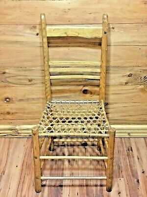 Antique  Ladder Back Chair Moose Sinew Woven Canoe Style Seat Hand Made Homedeco