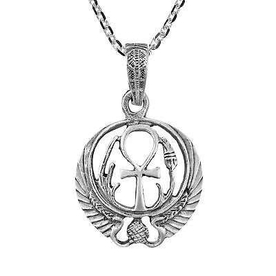 Perpetual Key Egyptian Ankh Sterling Silver Pendant Necklace