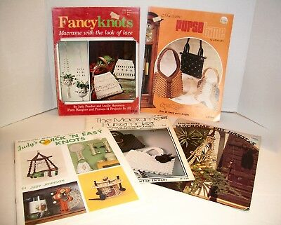 Lot of 5 Vintage Macrame Pattern Booklets Knots Plant Hangers Purses + More