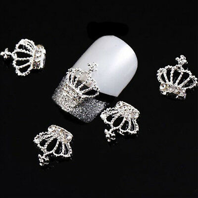 10pcs Lady's 3D Chic Rhinestone Crown Nail Art Tips DIY Nail Decor Beads Glitter