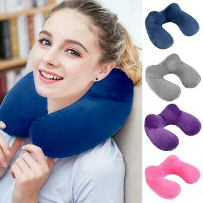 U-Shaped Portable Inflatable Travel Pillow Neck Cushion Car Flight Rest Support·