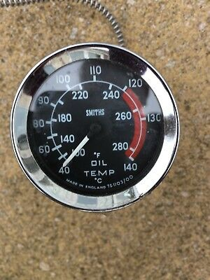 Rare vintage SMITHS dual temperature OIL TEMPERATURE GAUGE with sensor and lead