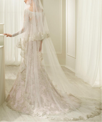 2T 3M White Ivory Wedding Veils With Comb Lace Appliqued Bridal Cathedral Length