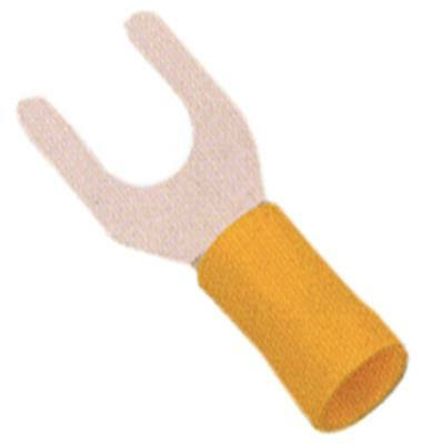 Fork Terminals Yellow Size M6 Insulated Cu PVC Max. Temperature 75°C
