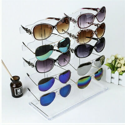 02 Row 10 Pairs Sunglasses Glasses Rack Holder Frame Display Stand Transparent