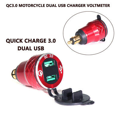 Red Voltmeter USB Phone Charger V3.0 Power Socket for BMW Motorcycle Hella Plug