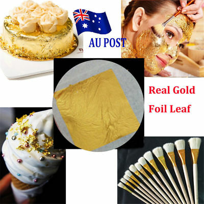 10x Real Gold Foil Leaf 99.99% Pure 24K Food Cake Decor Edible Face Beauty !R