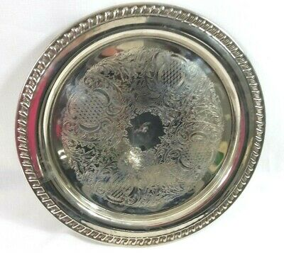 "Silverplate Leonard Tray Round Serving Platter 12 1/4"" Diameter Made in Italy"