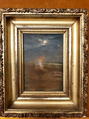 Beautiful Antique Oil Woman Beach Moon Painting Gold Decorative Frame-Unsigned