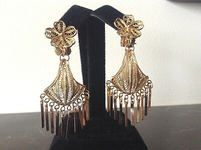 Vintage 1920s 22+K Gold Hand Made Filigree Dangle Earrings w/Tassels Clip-On