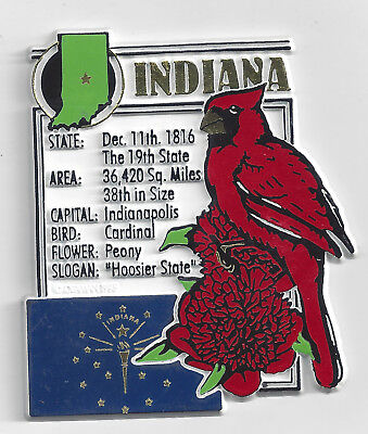 INDIANA  STATE MONTAGE FACTS MAGNET with state  bird  flower  and flag,