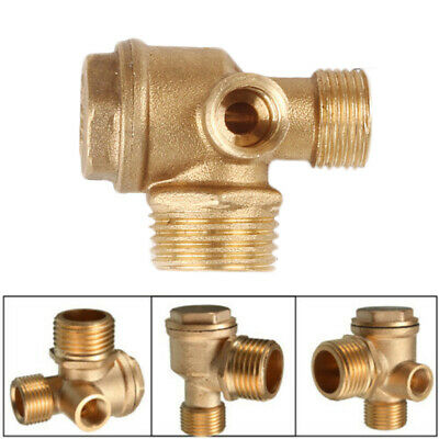 Air Compressor 3-Port Brass Male Threaded Check Valve Connector Tool Use Supply