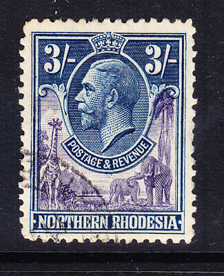 NORTHERN RHODESIA GV 1925 SG13 3/- violet & blue very fine used. Cat £27