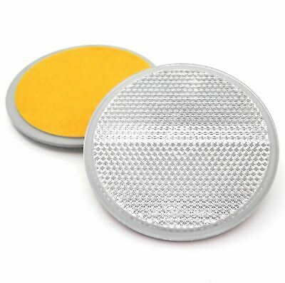 2x 70mm Round White Reflectors- Self Adhesive- E-Approved