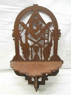 Antique Gothic Masonic Wooden Wall Trinket Shelf Walnut Wood Ornate Mason