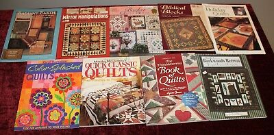 9 Assorted Quilting Quilt Pattern Guide Book Lot