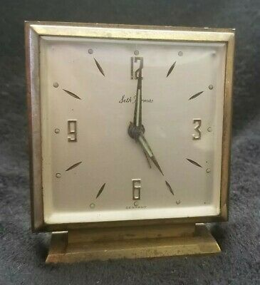 Seth Thomas Made in Germany one Jewel alarm Clock Wind up Brass parts or repair
