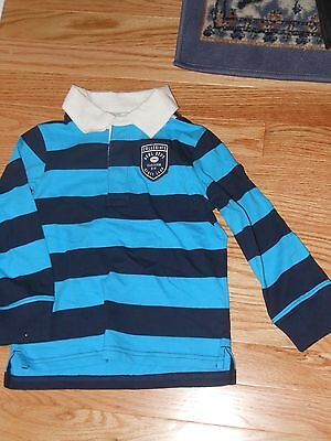 NWT- Childrens Place long sleeved turquise & navy collared shirt - 18-24 mos
