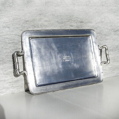 Chinese Export Silver Bamboo Tray Large Shanghai 1920 Sterling