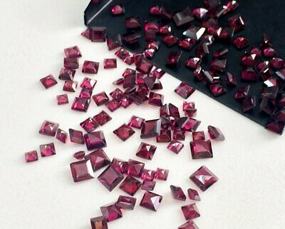 5 Pcs Garnet Square Gemstones, 2.5 To 3 Carat Loose Garnet Faceted Stones, 3-5mm