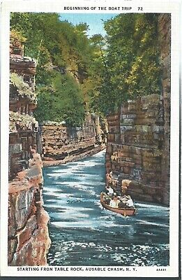 Ausable Chasm New York NY Table Rock Postcard Linen Teich