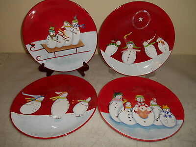 4 HOME Red Snowman Family Fun Dinnerware CHRISTMAS Kerman Dinner Plates
