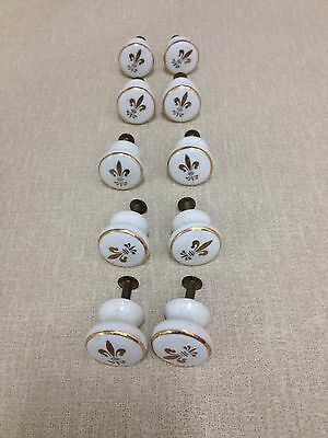 Lot 10 Porcelain Knobs Gold Spade - NOS -Escutcheons Handles Knobs Restoration