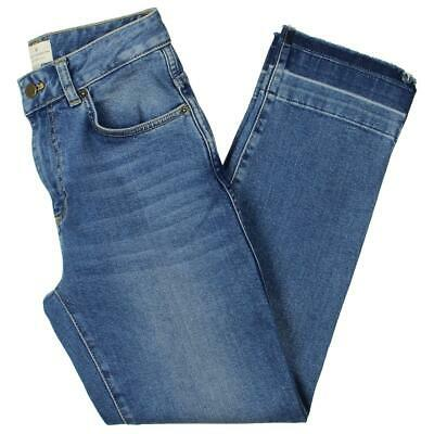 French Connection Womens Blue High Rise Cuffed Straight Leg Jeans 0 BHFO 4767
