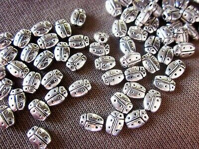 50 Antique Silver Coloured 7mmx5mm Beetle Spacer Beads #sp1355 Jewellery Making