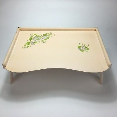 Vintage Breakfast Tray Wooden Folding Light Brown Hand Painted Decorative