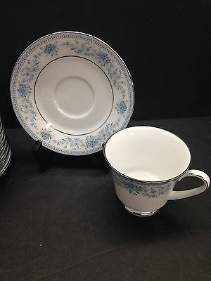 One Cup & Saucer Noritake China Blue Hill Pattern Blue Floral Silver Rim