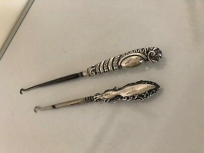 One Solid Silver Handled Boot Pull (Birmingham 1938) An One Silver Plated One