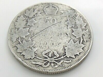 1906 Canada 50 Fifty Cent Half Dollar Canadian Circulated Edward VII Coin J152
