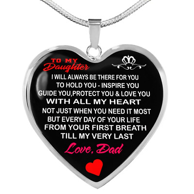 To My Daughter Love Dad - Father and Daughter Necklace Heart Gift from Daddy