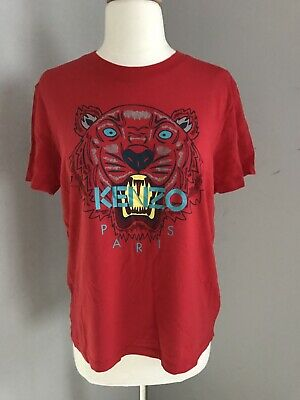 7f222fb6bf0e AUTH WOMEN'S KENZO Classic Tiger Red with Gold Logo T Shirt Tee Size ...