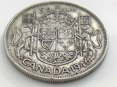 1946 WD Wide Date Canada 50 Fifty Cent Half Dollar Circulated Canadian Coin J159