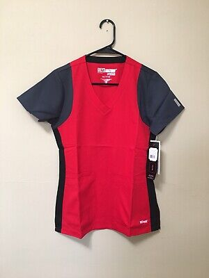 c14d881dd17 Grey's Anatomy Active Women's Red & Black Block Scrub Top Size XS NEW ...