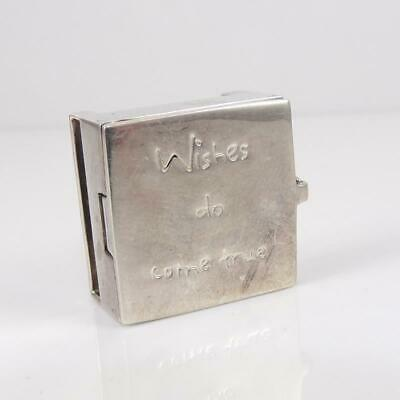 Vintage Sterling Silver Articulated Box Wishes Do Come True Slider Charm LFC3