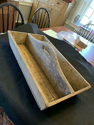 Antique Primitive Wooden Carpenter's Tool Tote Old Gray-Green Weathered Paint