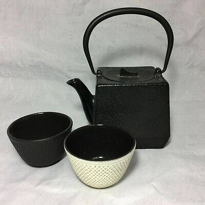 Square Cast Iron Teapot Small 4 x 4 Japanese Asian Style with two cups
