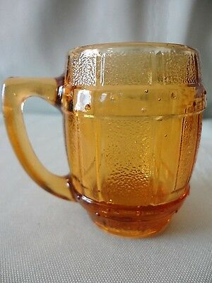 Hazel Atlas Amber GLASS MINI BARREL Keg Mug Shot Jigger Toothpick holder vintage