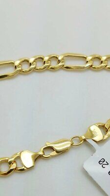 "10K Solid Yellow Gold Figaro Chain Link Pendant Necklace 16"" 18"" 20"" 22"" 24"""