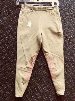 TAILORED SPORTSMAN Side Zip Horse RIDING Breeches Youth sz 10 *VGC* Green/Beige