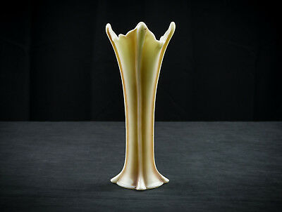 Northwood Four Pillars Custard Glass Vase, Antique EAPG Antiqued Nutmeg 10.5""