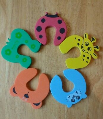 Child toddler foam door stop safety protector. Animals. Pack of 5. New.