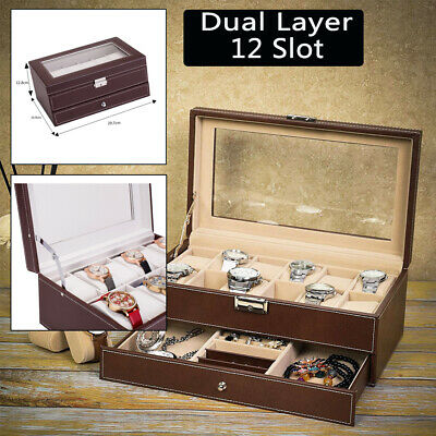 a1e638630 12 Slots Watch Box Case Mens Watch Organizer Lockable Jewelry Display  Leather
