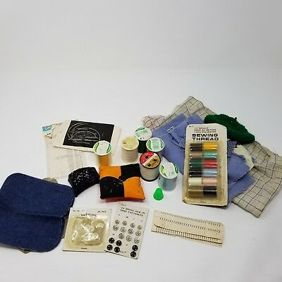 Vintage sewing notions lot buttons thread needles snaps thimbles