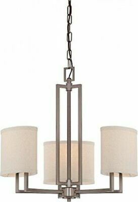 Nuvo 60-4857 - 3-Lights Hazel Bronze Chandelier with Khaki Fabric Shades